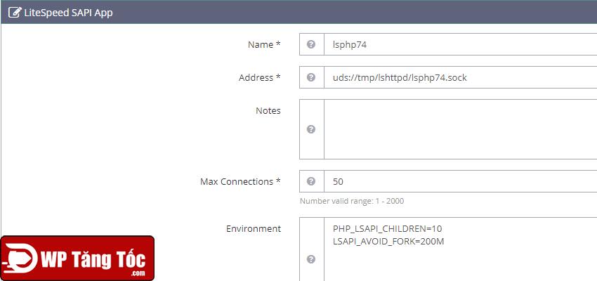 Ví dụ thiết lập lSPHP
