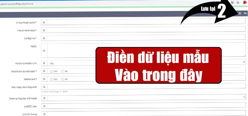 điền dữ liệu vào trong vhost thiết lập thêm website