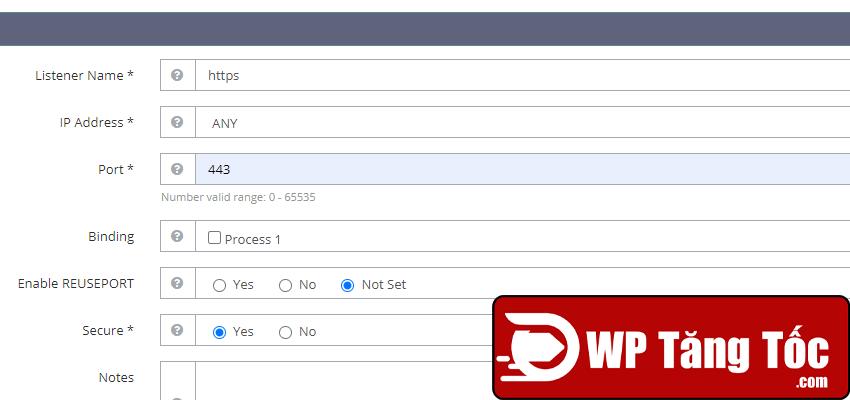 Bước 2: thêm cổng port 443 để chạy https openlitespeed