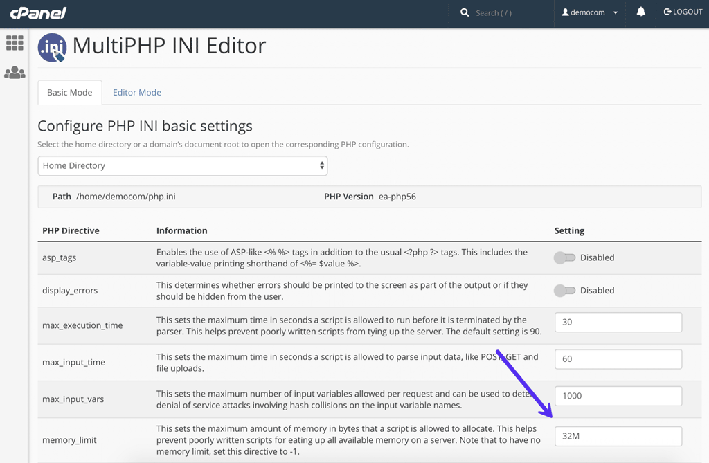 php-memory-limit-cpanel
